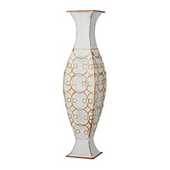 White Penny Metal Vase