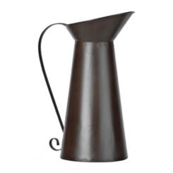 Rustic Brown Metal Pitcher Vase