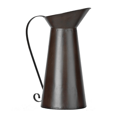 Rustic Brown Metal Pitcher Vase