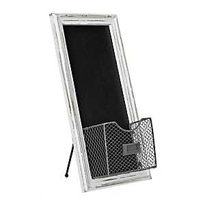 Weathered White Chalkboard Easel with Metal Basket