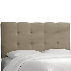 Light Gray Velvet Tufted Queen Headboard