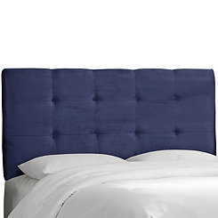 Navy Velvet Tufted Queen Headboard