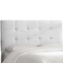 White Velvet Tufted Queen Headboard
