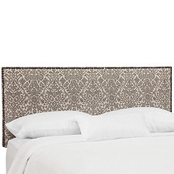 Zaire Gunmetal Nail Button Border Queen Headboard
