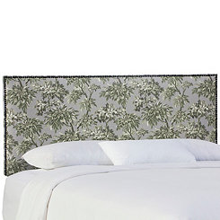 Toile Greystone Nail Button Border Queen Headboard