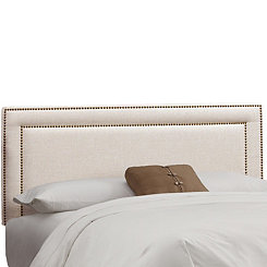 Talc Linen Nail Button Border Queen Headboard