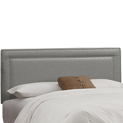 Gray Linen Nail Button Border Queen Headboard