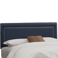 Navy Gray Linen Nail Button Border Queen Headboard