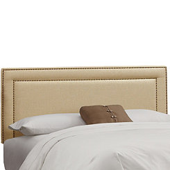 Sandstone Linen Nail Button Border King Headboard