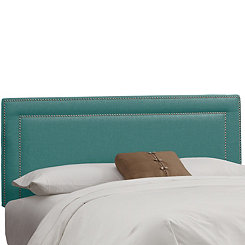 Laguna Linen Nail Button Border Queen Headboard