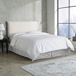 Talc Linen French Seam Queen Headboard