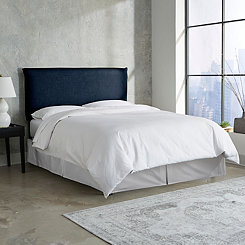 Navy Linen French Seam Queen Headboard