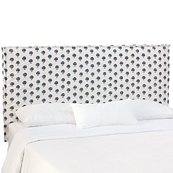 Flora Indigo Slipcover King Headboard