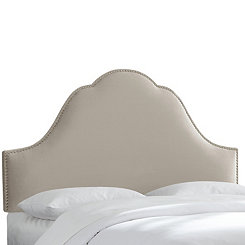Light Gray Velvet Arch Nail Button Queen Headboard
