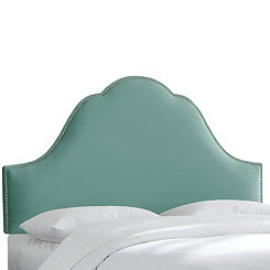 Caribbean Velvet Arch Nail Button King Headboard