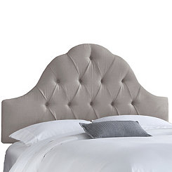 Gray Twill Arch Tufted King Headboard