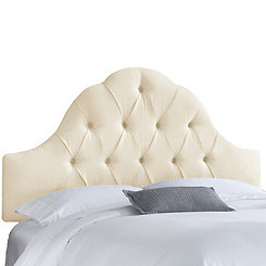 Natural Twill Arch Tufted Full Headboard