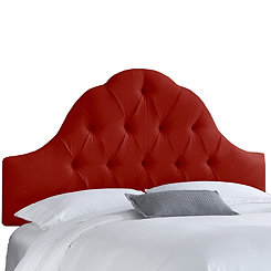 Red Twill Arch Tufted Full Headboard
