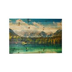 Rocky Mountain Lake Slatted Wood Art Print