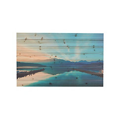 Serene Lake Slatted Wood Art Print