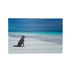Dog on Beach Slatted Wood Art Print