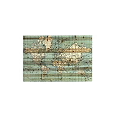 World Map Slatted Wood Art Print