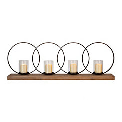 Metal Rings Wooden Candle Runner