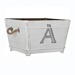 Distressed Monogram A Wooden Bin