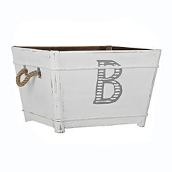 Distressed Monogram B Wooden Bin