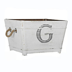 Distressed Monogram G Wooden Bin