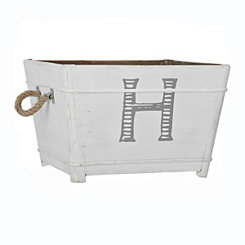 Distressed Monogram H Wooden Bin