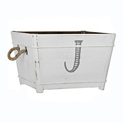 Distressed Monogram J Wooden Bin