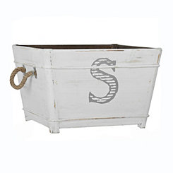 Distressed Monogram S Wooden Bin