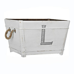 Distressed Monogram L Wooden Bin