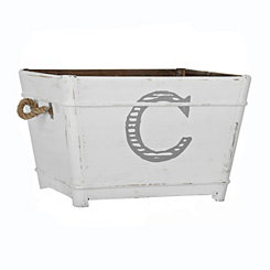 Distressed Monogram C Wooden Bin