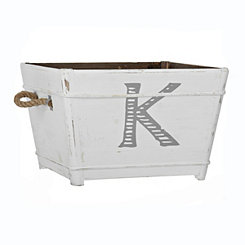 Distressed Monogram K Wooden Bin