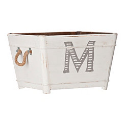 Distressed Monogram M Wooden Bin