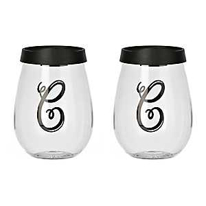 Black Monogram C Wine Glass With Lid, Set of 2