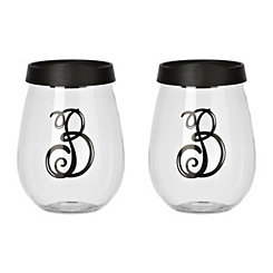 Black Monogram B Wine Glass With Lid, Set of 2