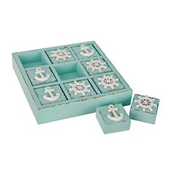 Turquoise Coastal Wooden Tic Tac Toe Set