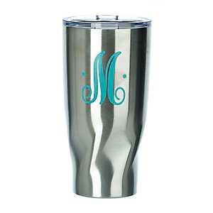Turquoise Monogram M Stainless Steel Tumbler