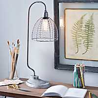Galvanized Chicken Wire Edison Bulb Table Lamp