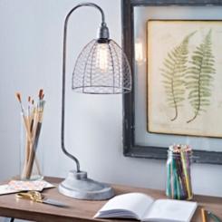 Galvanized Chicken Wire Edison Bulb Table Lamp
