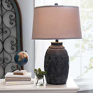 Etched Black Wash Table Lamp