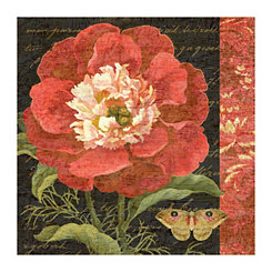 Red Shabby Chic Floral Canvas Art Print