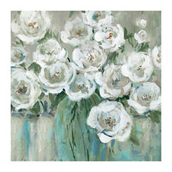 Loose Peonies Gray Canvas Art Print