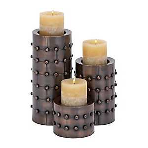 Copper Stud Candle Holders, Set of 3