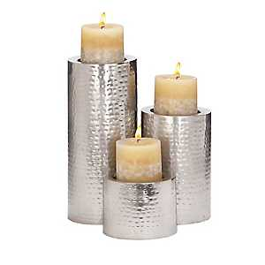 Hammered Silver Candle Holders, Set of 3