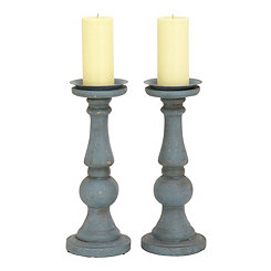 Weathered Blue Candle Holders, Set of 2