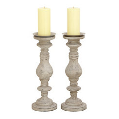 Weathered White Candle Holders, Set of 2